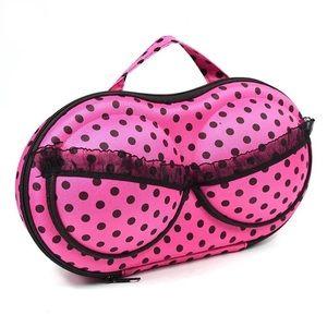 Bra case pink polka dot zipper hard case bag black